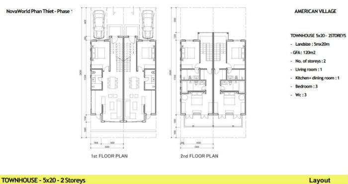 thiết kế nhà phố novaworld 5x20