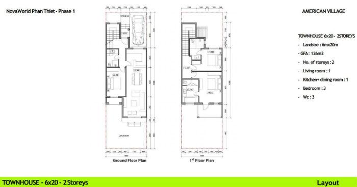 thiết kế nhà phố novaworld 6x20