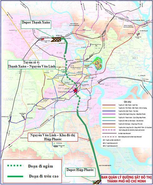 bản đồ quy hoạch tuyến metro số 4 hcm